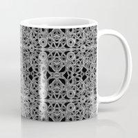 cyberpunk Mugs featuring Cyberpunk Silver Print Pattern  by DFLC Prints