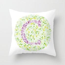 """C"" Eye Test Letter Circle Throw Pillow"