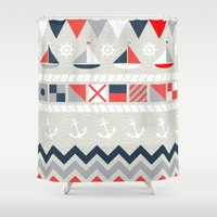nautical Shower Curtains featuring Nautical by Decade Card