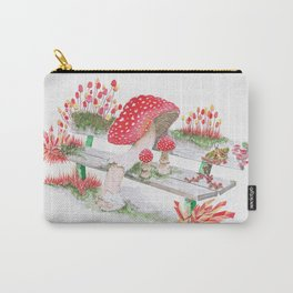 Mushrooms on a Public Bench | Surrealistic Watercolor Painting by Stephanie Kilgast Carry-All Pouch