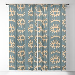 Winking Evil Eye Pattern in Mustard Yellow and Teal Sheer Curtain