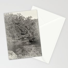 Black and white study of a tranquil river Stationery Cards