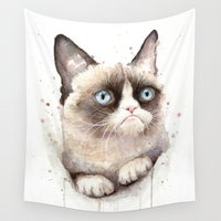 grumpy Wall Tapestries featuring Grumpy Watercolor Cat by Olechka