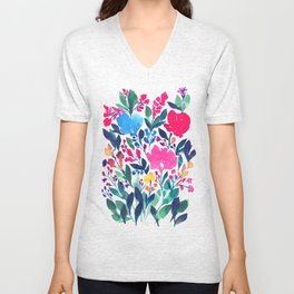hand painted flowers_3a Unisex V-Neck