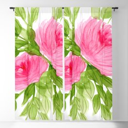 Pink Peonies in Watercolor Blackout Curtain