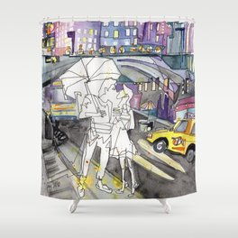 Kissing in New York City Shower Curtain