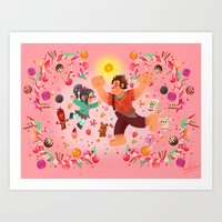 wreck it ralph Art Prints featuring Sweet wall painting by princessbeautycase