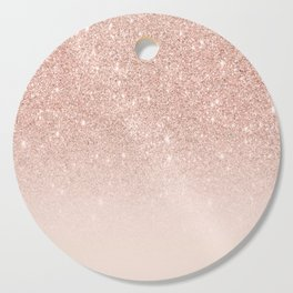 Rose gold faux glitter pink ombre color block Cutting Board