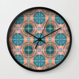 Portuguese Tiles Azulejos Blue Red Pattern Wall Clock
