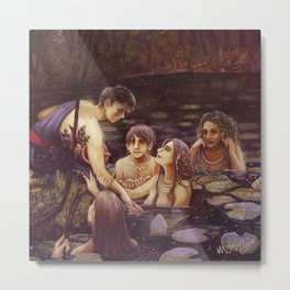 Hylas and the Nymphs Metal Print