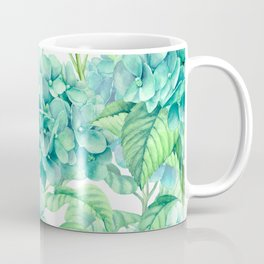 Hand painted green watercolor hydrangea floral pattern Coffee Mug