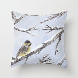 Bird in Snow Throw Pillow