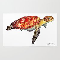 turtle Area & Throw Rugs featuring Turtle by Alexander Cox