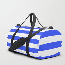 Even Horizontal Stripes, Blue and White, M Duffle Bag