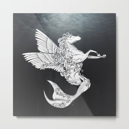 Horse with fishtail and wings Metal Print