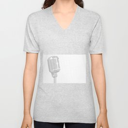 Grey Microphone Background Unisex V-Neck