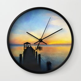 Sunset in Duck NC Wall Clock