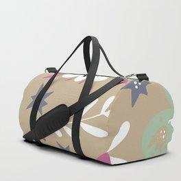 Flowers and butterflies In Brown Pattern Duffle Bag