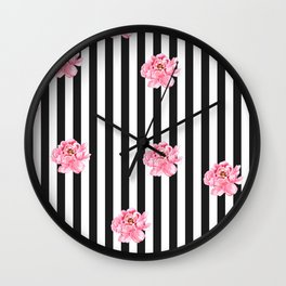 Hand painted pink watercolor black white stripes floral Wall Clock