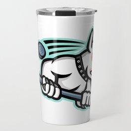 Bull Terrier Ice Hockey Mascot Travel Mug