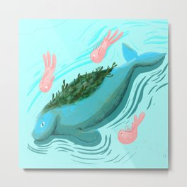 Dugong Swimming With Fishes Metal Print