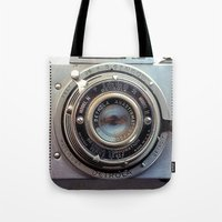 aperture Tote Bags featuring Detrola (Vintage Camera) by RichCaspian