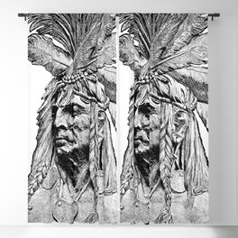 Chief / Vintage illustration redrawn and repurposed Blackout Curtain