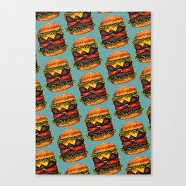 Double Cheeseburger Pattern Canvas Print