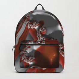 Fractal Flower Red and White Backpack