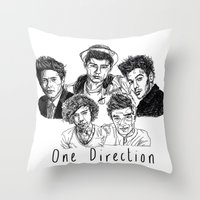 one direction Throw Pillows featuring One Direction by Hollie B
