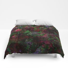 Purple Warfare - Abstract purple, pink, green and black abstract Comforters