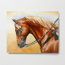 Western Sorrel Quarter Horse Metal Print