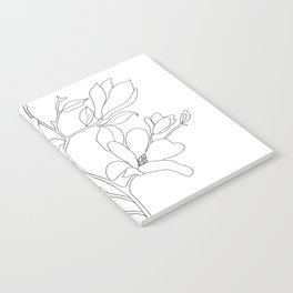 Minimal Line Art Magnolia Flowers Notebook