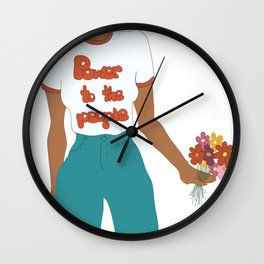 Digital illustration 70s style hippie girl retro girl power power to the people flower power Wall Clock