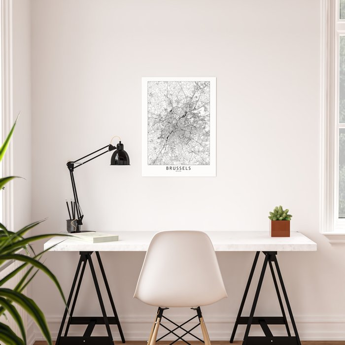 Brussels White Map Poster