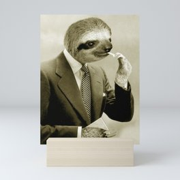 Sloth lighting a cigarette Mini Art Print