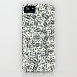 Giant money background 100 dollar bills / 3D render of thousands of 100 dollar bills iPhone Case