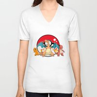 charizard V-neck T-shirts featuring Charizard evolution by Fred Vilair