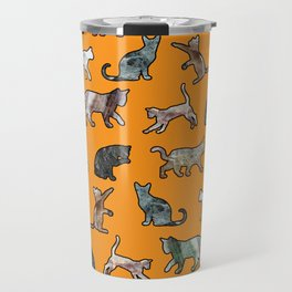 Cats shaped Marble - Black Orange Halloween Travel Mug