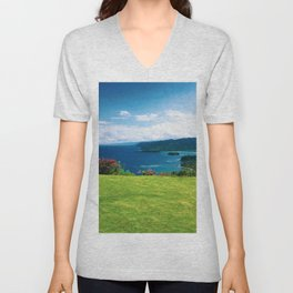 Color photo of Firefly view in Ocho Rios, Jamaica by Larry Simpson Unisex V-Neck