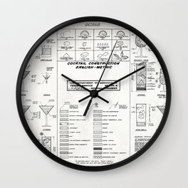 COCKTAIL print, cocktail chart poster Wall Clock