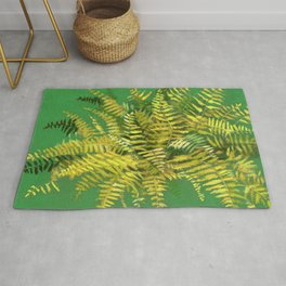 Golden Fern, Floral Painting Green Yellow  Rug