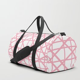 Texture lines pink and white Duffle Bag