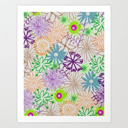 Drawn Flowers Art Print