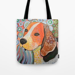 Rocky ... Abstract pet dog portrait art, Beagle Tote Bag