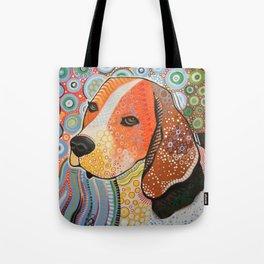 Rocky ... Abstract pet dog portrait art, Beagle Tote Bag