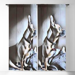 Dog Lovers - Portrait of a Pit Bull German Shepherd Cross Breed puppy in Watercolor Blackout Curtain