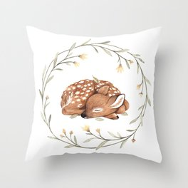 Wildflower Fawn Throw Pillow