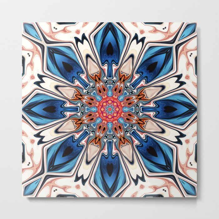 Abstract Blue And Orange Flower Metal Print