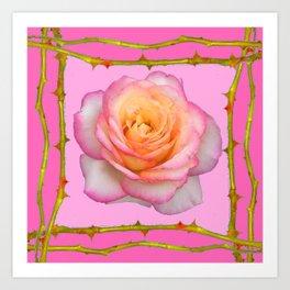 ROSE & RAMBLING THORNY CANES PINK BORDER PATTERNS Art Print